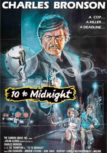 Filme: 10 to Midnight (Dez Minutos Para Morrer, 1983). Direção: J. Lee Thompson. Elenco: Charles Bronson, Lisa Eilbacher e Andrew Stevens.