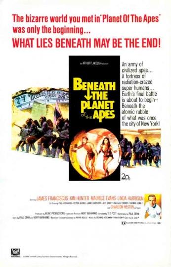 Filme: Beneath the Planet of the Apes (De Volta ao Planeta dos Macacos, 1970). Direção: Ted Post. Elenco: James Franciscus, Kim Hunter e Maurice Evans.