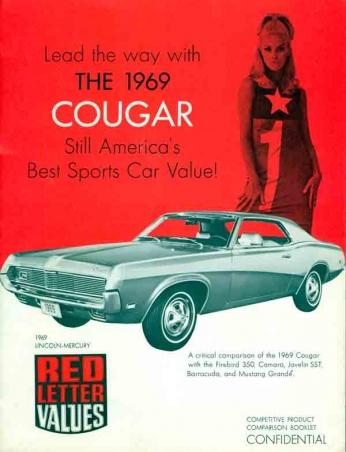 Cougar - 1969 Propaganda do Lincoln Mercury Cougar de 1969.