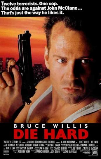 Filme: Die Hard (Duro de Matar, 1988). Direção: John McTiernan. Elenco: Bruce Willis, Bonnie Bedella e Reginald VelJnhnson.