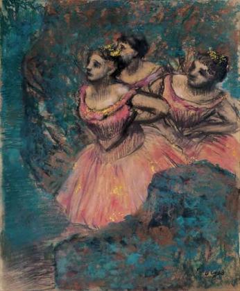 Edgar Degas - Três Dançarinas em Vermelho - 1896 Pastel sobre papel.