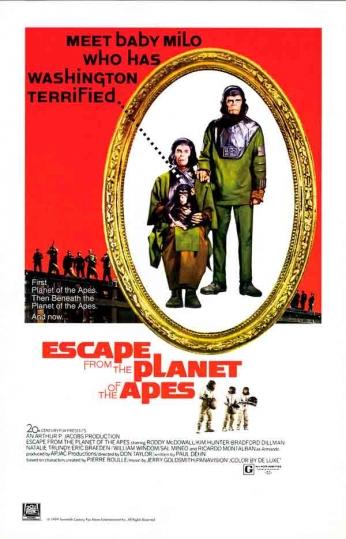 Filme: Escape  the Planet of the Apes (Fuga do Planeta dos Macacos, 1971). Direção: Don Taylor. Elenco: Roddy McDowall, Kim Hunter e Bradford Dillman.
