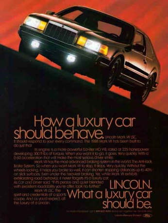 Ford - Mercury Lincoln Mark VII LSC - 1988