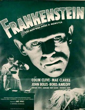 Filme: Frankenstein (1931). Direção: James Whale. Elenco: Colin Clive, Mae Clarke, John Boles e Boris Karloff.
