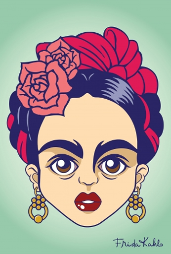 Frida Kahlo Minimalista Close Pôster.