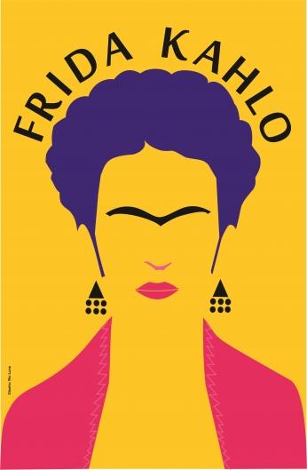 Poster Frida Kahlo Minimalista Pôster Amarelo..