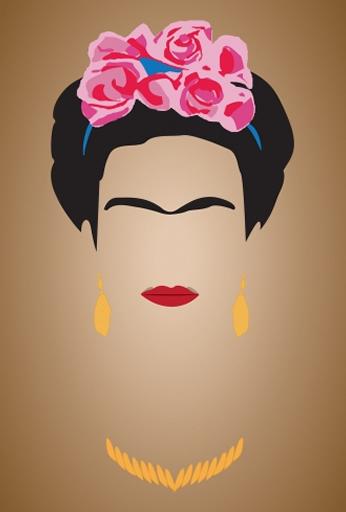 Frida Kahlo Minimalista Pôster Marrom.