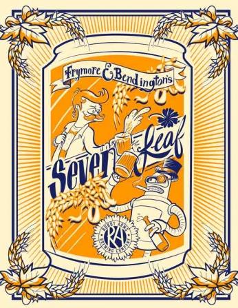 Futurama - Frymore E Bendington's - Seven Leaf Rótulo Antigo de Cerveja com Fry e Bender.