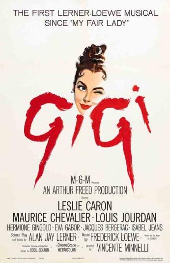 Filme: Gigi (1958). Direção: Vincente Minnelli. Elenco: Leslie Caron, Maurice Chevalier, Louis Jourdan.