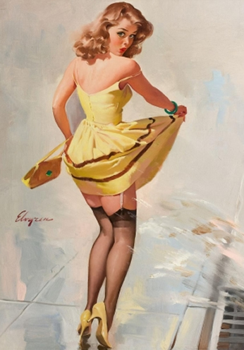 On the Sidewalk by Gil Elvgren