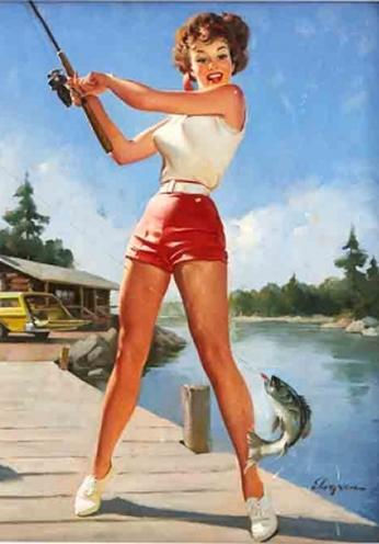 Girl Fishing by Gil Elvgren