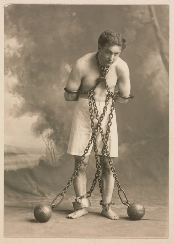 Poster Houdini in White Trunks and Chains.