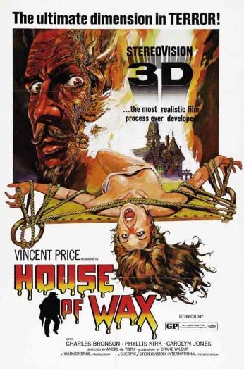 Filme: House of Wax (Museu de Cera, 1953). Direção: André De Toth. Elenco: Vincent Price, Charles Bronson, Phyllis Kirk, Carolyn Jones.