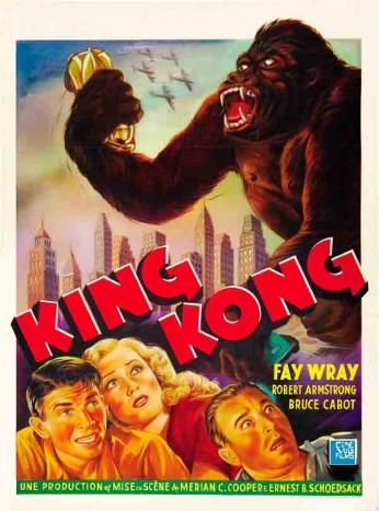 King Kong (1933). Direção: Merian C. Cooper e Ernest B. Schoedsack. Elenco: Fay Wray, Robert Armstrong e Bruce Cabot.