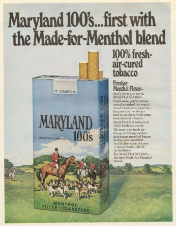 Poster Maryland 100's, February 1971.