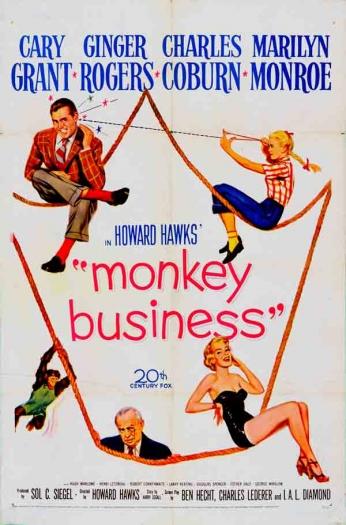 Filme: Monkey Business (O Inventor da Mocidade, 1952). Direção: Howard Hawks. Elenco: Cary Grant, Ginger Rogers, Charles Coburn e Marilyn Monroe.
