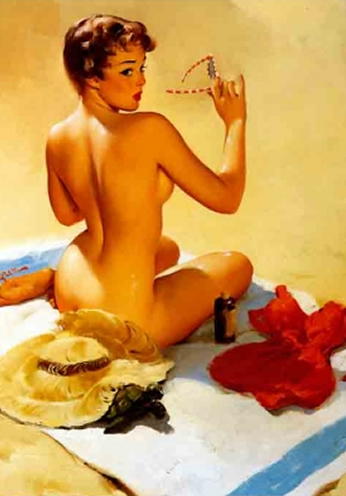 Nude at the Beach by Gil Elvgren