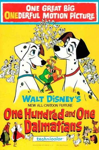 Filme: One Hundred and One Dalmatians (101 Dálmatas, 1961). Direção: Clyde Geronimi, Hamilton Luske e Wolfgang Reitherman. Elenco: Rod Taylor, J. Pat O'Malley, Betty Lou Gerson.