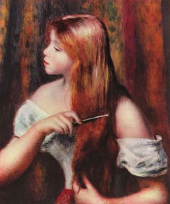 Pierre-August Renoir - Garota se Penteando - 1894 Pastel sobre tela.