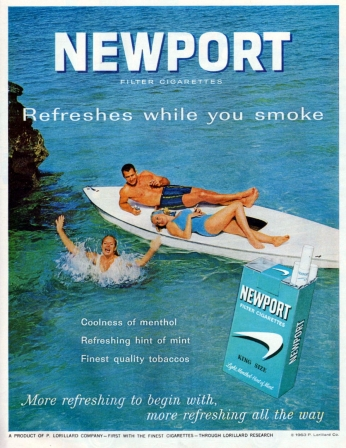 Poster Refreshes while you smoke Newport, February 1963.