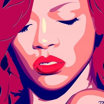 Rihanna Por Art Poster