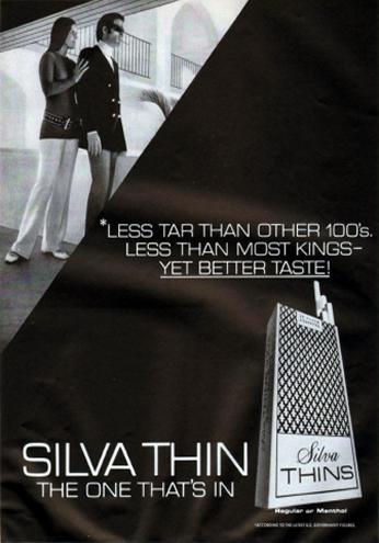 Poster Silva Thins, July 1970.