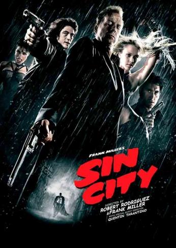 Filme: Sin City (Sin City - A Cidade do Pecado, 2005). Direção: Frank Miller, Robert Rodriguez e Quentin Tarantino. Elenco: Jessica Alba, Clive Owen, Mickey Rourke e Bruce Willis.