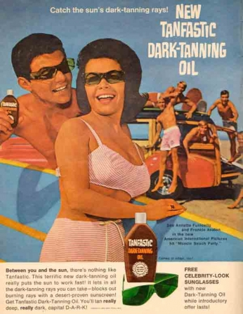 Poster Tanfastic Dark Tanning Oil featuring Annette Funicello and Frankie Avalon June (1964)