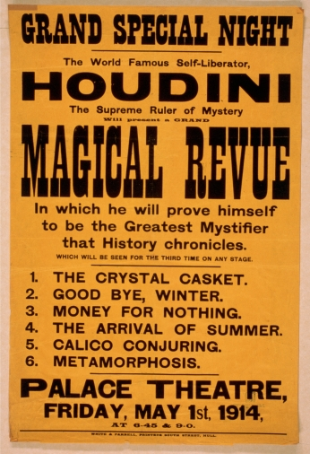 Poster The World Famous Self-liberator, Houdini The Supreme Ruler of Mystery.
