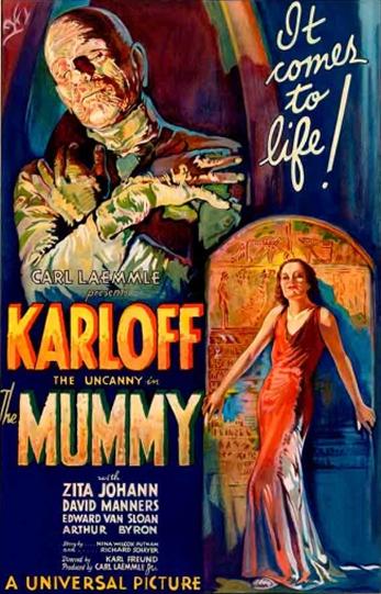 Filme: The Mummy (A Múmia, 1932). Direção: Karl Freund. Elenco: Boris Karloff, Zita Johann e David Manners.