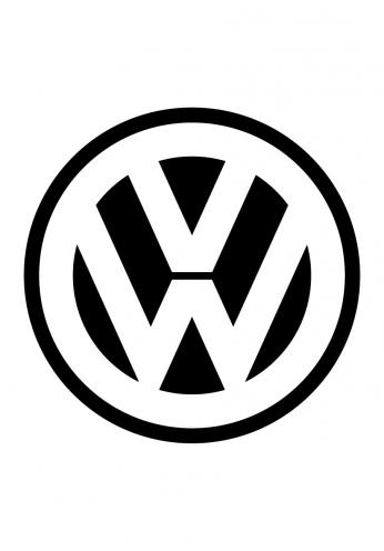 Pôster Logo Volkswagen em Preto e Branco.