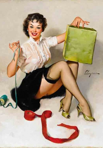 Wrapping a Gift by Gil Elvgren